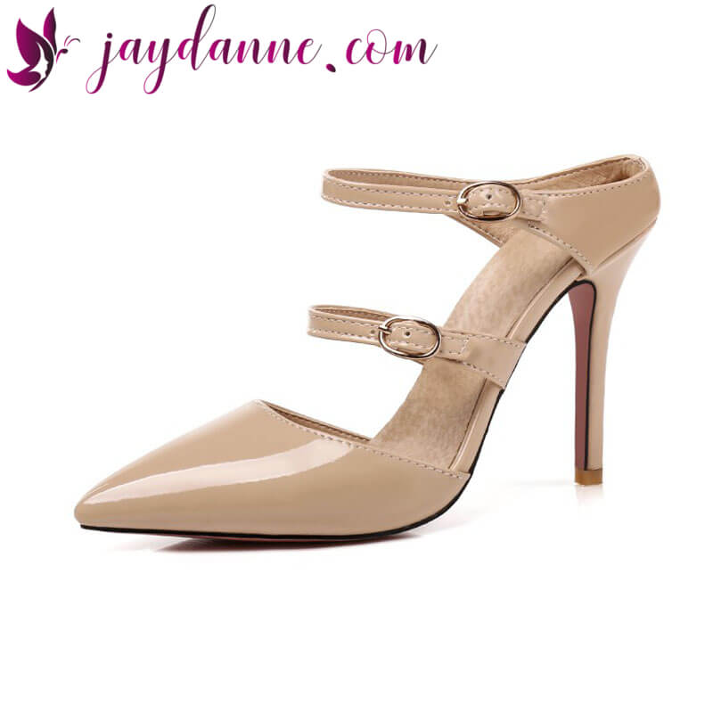 Leather Mary Janes Mules Pointed Toe Pumps – Jaydanne